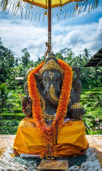 Ganesh statue at Tagalalang Rice Terrace in Bali, Indonesia