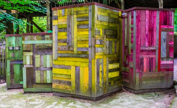 modern hand crafted wooden boxes with a vintage look, colorful wood artworks