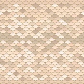Seamless scale pattern. Abstract roof tiles background. Brown squama texture.