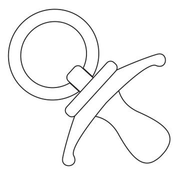 A cartoon babies pacifier dummy as isolated line drawing