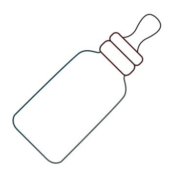 A babies milk bottle feeder as a line drawing isolated on a white background