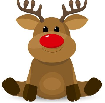 Little deer with a red nose on a white background.