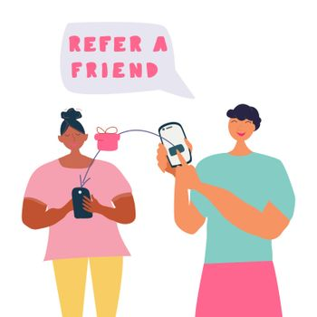 Refer a friend concept, friend referring and receiving gift.