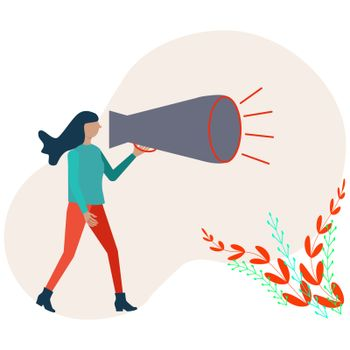 Refer a friend concept, woman shouting on megaphone.