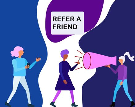 Trendy colour concept of word of mouth advertising refer a friend.