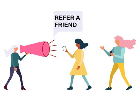 Word of mouth marketing refer a friend concept.