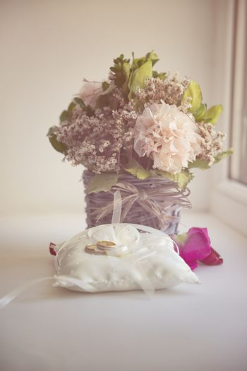 Valentines Day or wedding bouquet. background with flower on table