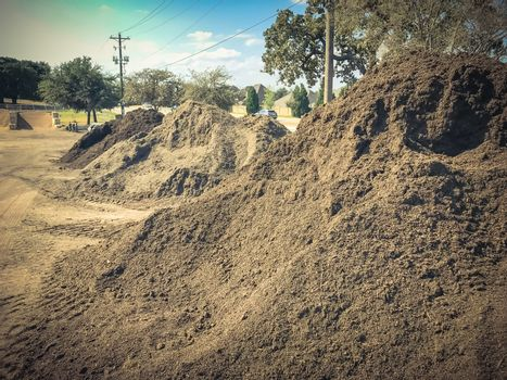 Heap of mixed soil with compost and enriched top soil wholesale