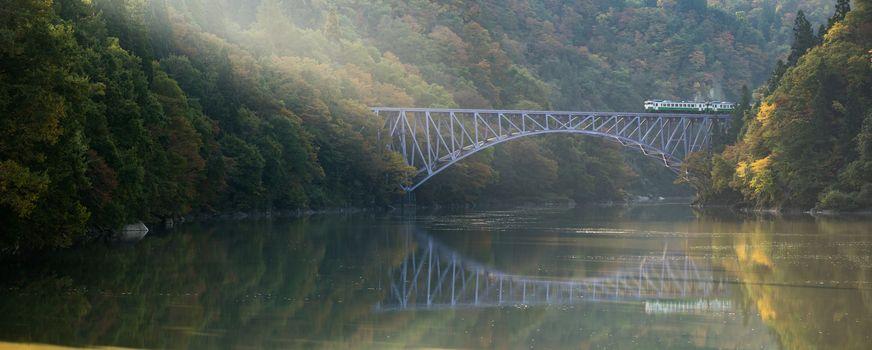 Autumn fall foliage Fukushima First Bridge View Point daiichi kyouryou in Mishima Fukushima Japan panorama
