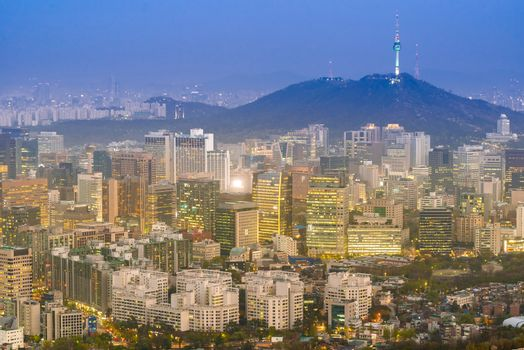 Aerial Sunset and Night view of Seoul Downtown cityscape with Seoul Tower in South Korea