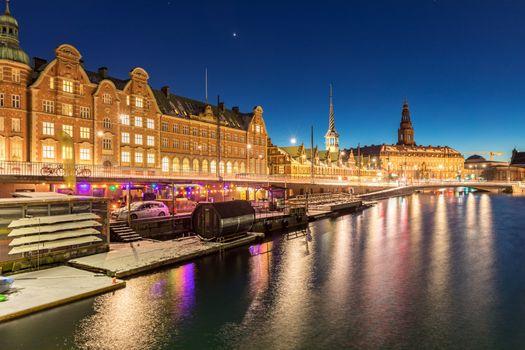 Copenhagen Cityscape at twilight night Denmark