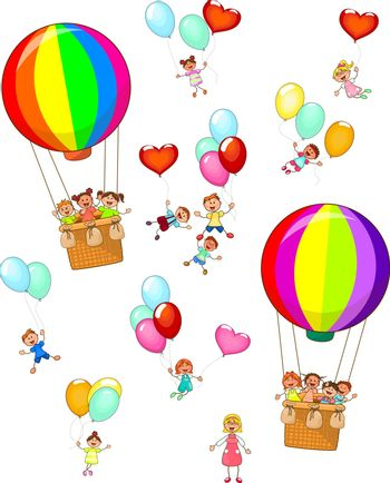 Group of kids with balloons and teacher on white background, isolated.