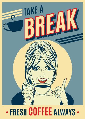 advertising coffee retro poster with pop art woman. Vector eps10
