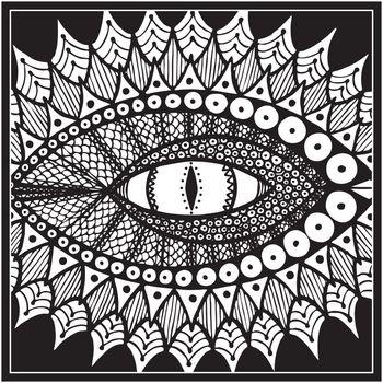 dragon or snake eye. black and white. vector