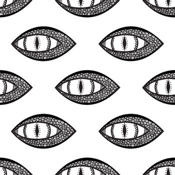 seamless pattern with dragon or snake eye. black and white. vector