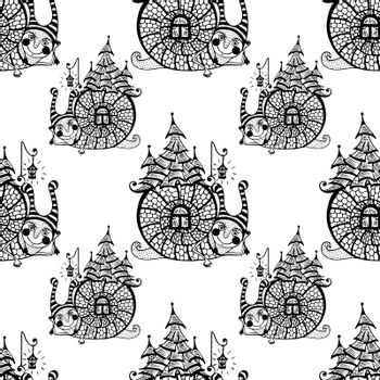 seamless pattern with fun snail. vector