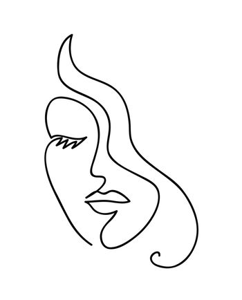 Abstract woman face with wavy hair. Black and white hand drawn line art. Outline vector illustration.