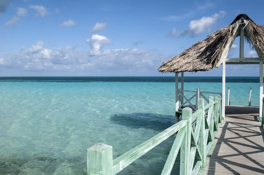 Wooden pier in the Caribbean.