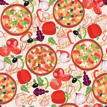 Seamless pattern with three different pizzas and ingredients of pizza in flat style. Vector Delicious background for your design.