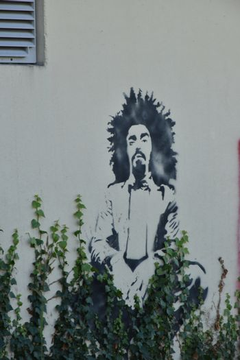 Caparezza is here represented ina graffiti and is a famous Italian singer.