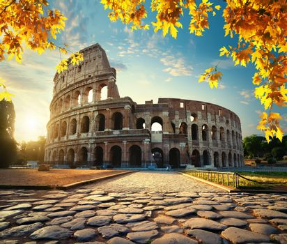 Road to Colosseum in calm sunny autumn morning