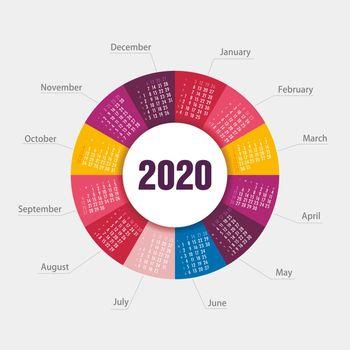 Calendar 2020 round shape. Week starts from Sunday