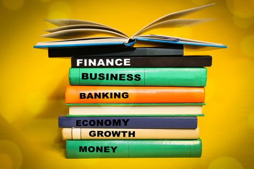 Finance word cloud, Finance related words on book spine