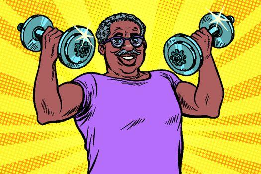 elderly african man lifts dumbbells, fitness sport. Pop art retro vector illustration drawing vintage kitsch