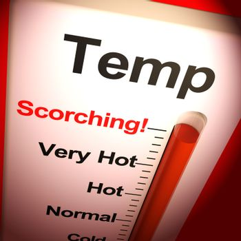 Temperatures scorching means a hot summer and very warm weather. Blazing hot days on the thermometer - 3d illustration