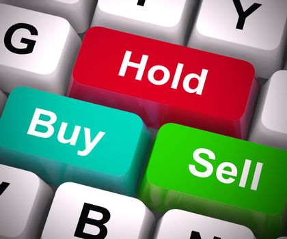 Hold buy or sell buttons for trading in the stock market. International finance investment and risk in the market - 3d illustration