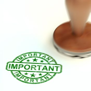 Important stamp means marking goods as essential or crucial. Delivery priority and urgent - 3d illustration