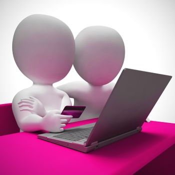 Online shopping with a credit card for internet purchases. Electronic payments for e-commerce - 3d illustration