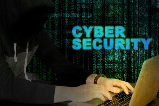 Cyber security with hacker and code background - glow from computer