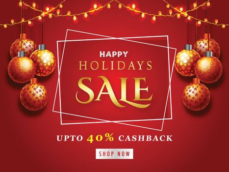 Happy Holidays Sale Banner with 40% Discount Offers, Red Poster