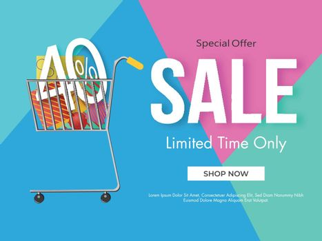 Sale poster design with 40% discount offer and shopping cart ill