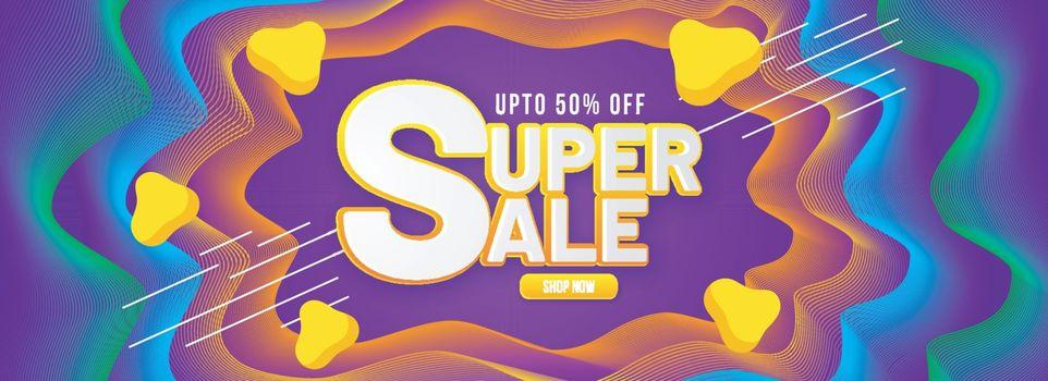 Fluid art abstract decorated super sale header or banner design