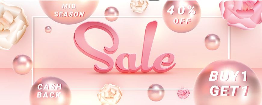 Creative sale header or banner design with 40% discount offer an