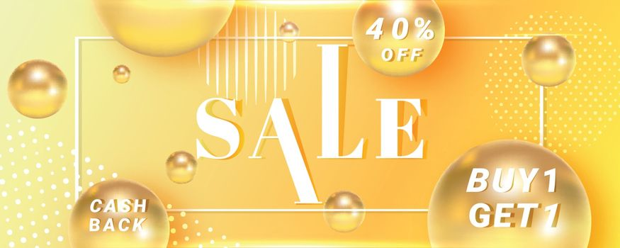 Advertising sale banner design with 40% discount offer on yellow