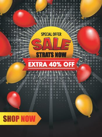 Sale template or flyer design with 40% discount offer and balloo
