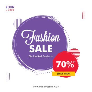 Fashion sale template or poster design with 70% discount offer on abstract background.