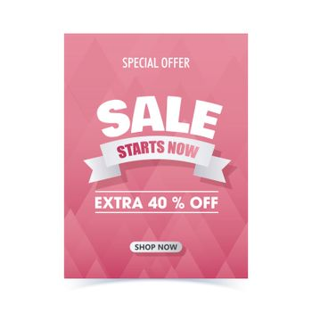 Sale template or flyer design with 40% discount offer on pink ab