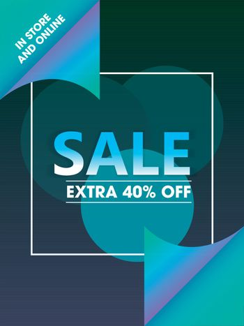 Scroll paper style template or flyer design with 40% discount of