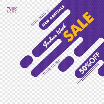 Fashion week sale poster or banner design, 50% discount offer on abstract background with space for your product image.