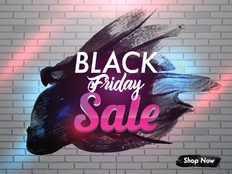 Creative Black Friday Sale text on black brush stroke brick wall background in lighting effect. Advertising poster or banner design.