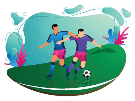 Football players character on playground background for Soccer Championship poster design.