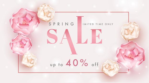 Spring Sale banner or poster design with 40% discount offer and