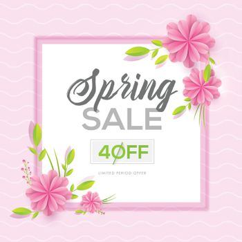 Spring sale template or poster design with 40% discount offer an