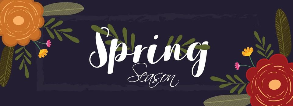 Calligraphy of Spring Season with beautiful flowers decorated on purple background. Can be used as header or banner design.