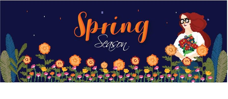 Spring Season celebration header or banner design with beautiful lady holding bouquet and colorful flowers decorated on blue background.