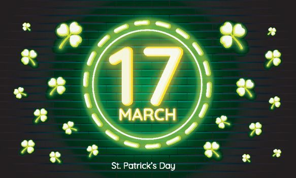 Neon text 17 March St. Patrick's Day on green brick wall backgro